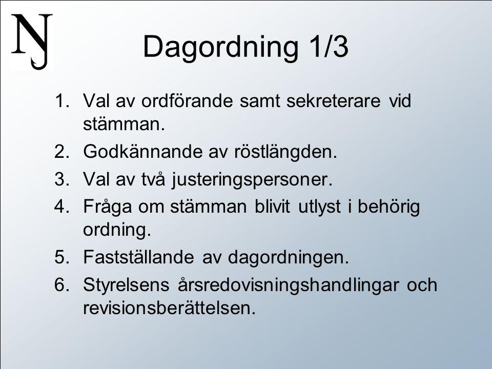 Dagordning 1/3 1.Val av ordförande samt sekreterare vid stämman.
