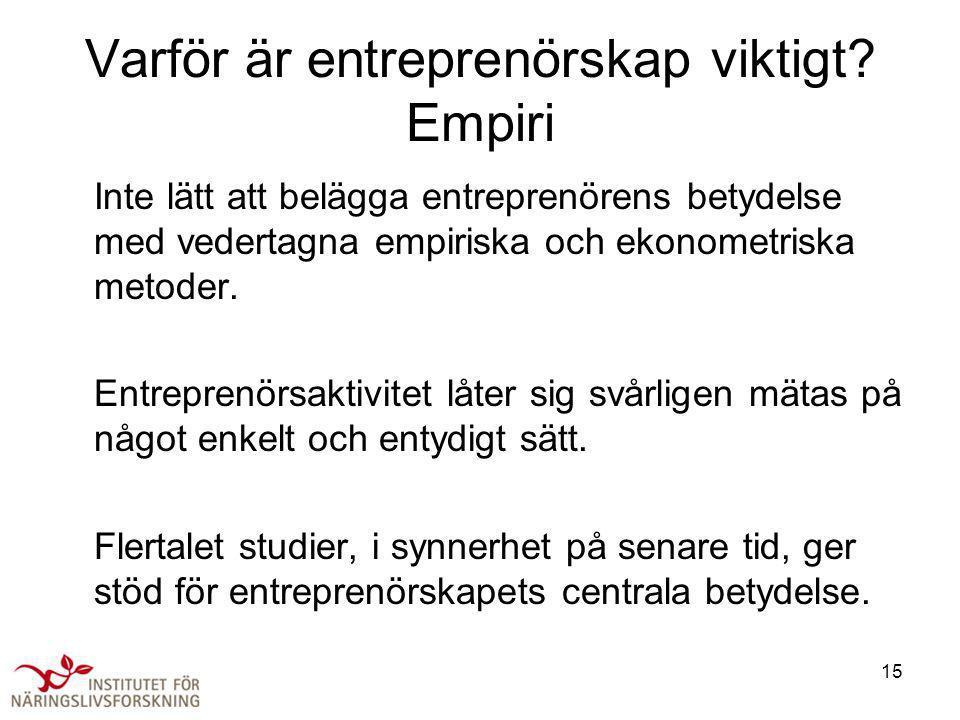 15 Varför är entreprenörskap viktigt? Empiri Inte lätt att belägga entreprenörens betydelse med vedertagna empiriska och ekonometriska metoder. Entrep