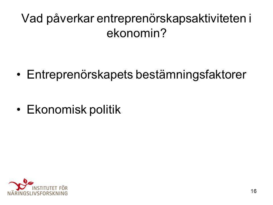 16 Vad påverkar entreprenörskapsaktiviteten i ekonomin? •Entreprenörskapets bestämningsfaktorer •Ekonomisk politik