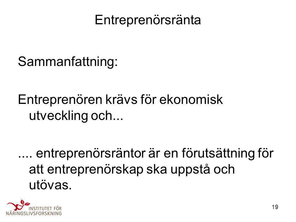 19 Entreprenörsränta Sammanfattning: Entreprenören krävs för ekonomisk utveckling och....... entreprenörsräntor är en förutsättning för att entreprenö