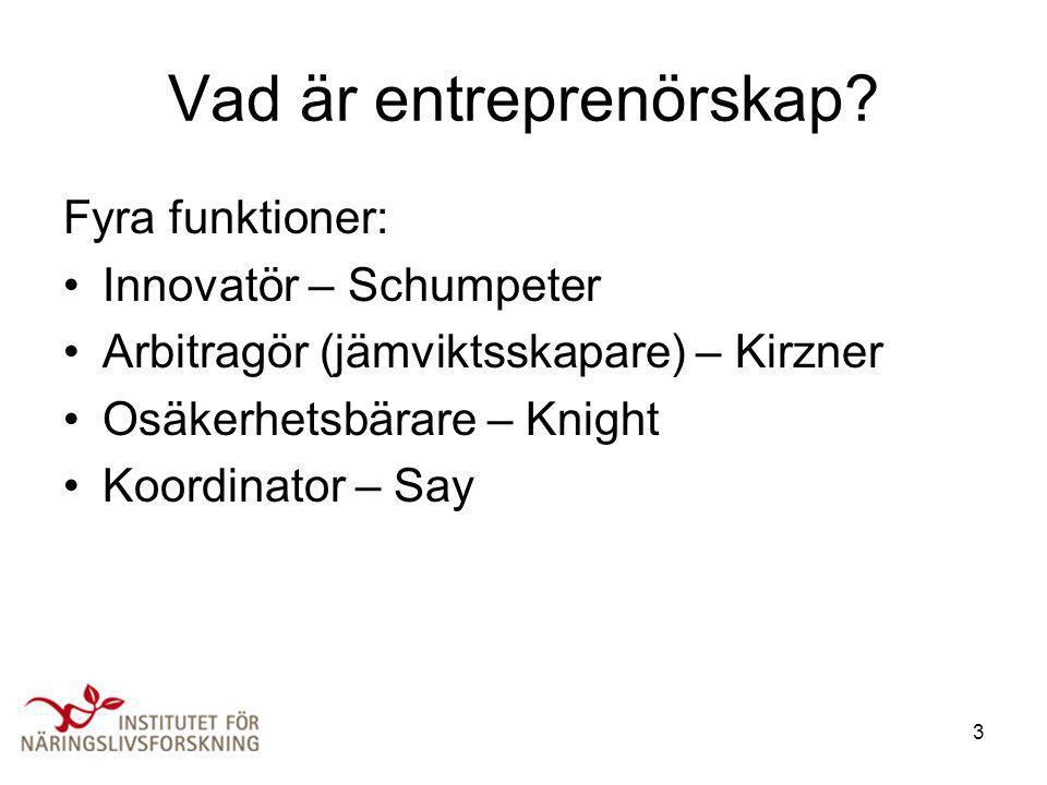 3 Vad är entreprenörskap? Fyra funktioner: •Innovatör – Schumpeter •Arbitragör (jämviktsskapare) – Kirzner •Osäkerhetsbärare – Knight •Koordinator – S