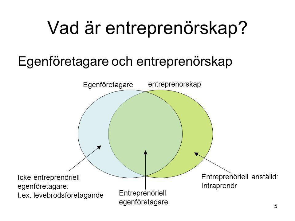 5 Vad är entreprenörskap? Egenföretagare och entreprenörskap Egenföretagare entreprenörskap Icke-entreprenöriell egenföretagare: t.ex. levebrödsföreta