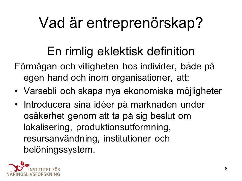 6 Vad är entreprenörskap? En rimlig eklektisk definition Förmågan och villigheten hos individer, både på egen hand och inom organisationer, att: •Vars