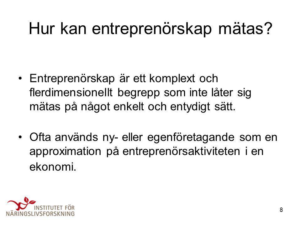 8 Hur kan entreprenörskap mätas? •Entreprenörskap är ett komplext och flerdimensionellt begrepp som inte låter sig mätas på något enkelt och entydigt
