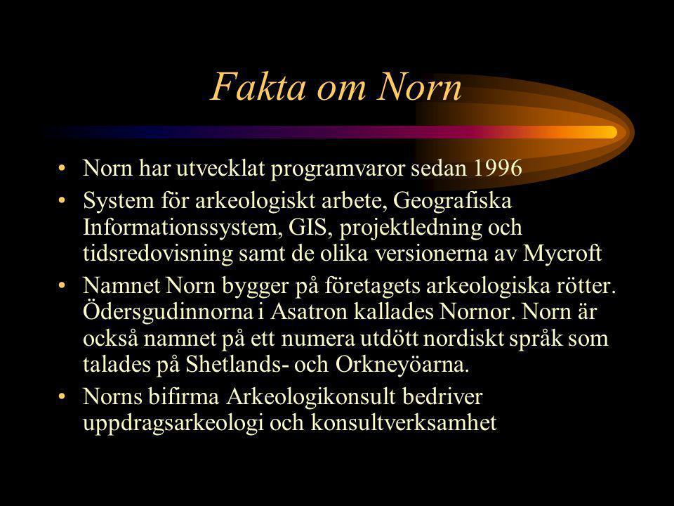 Fakta om Norn •Norn har utvecklat programvaror sedan 1996 •System för arkeologiskt arbete, Geografiska Informationssystem, GIS, projektledning och tidsredovisning samt de olika versionerna av Mycroft •Namnet Norn bygger på företagets arkeologiska rötter.