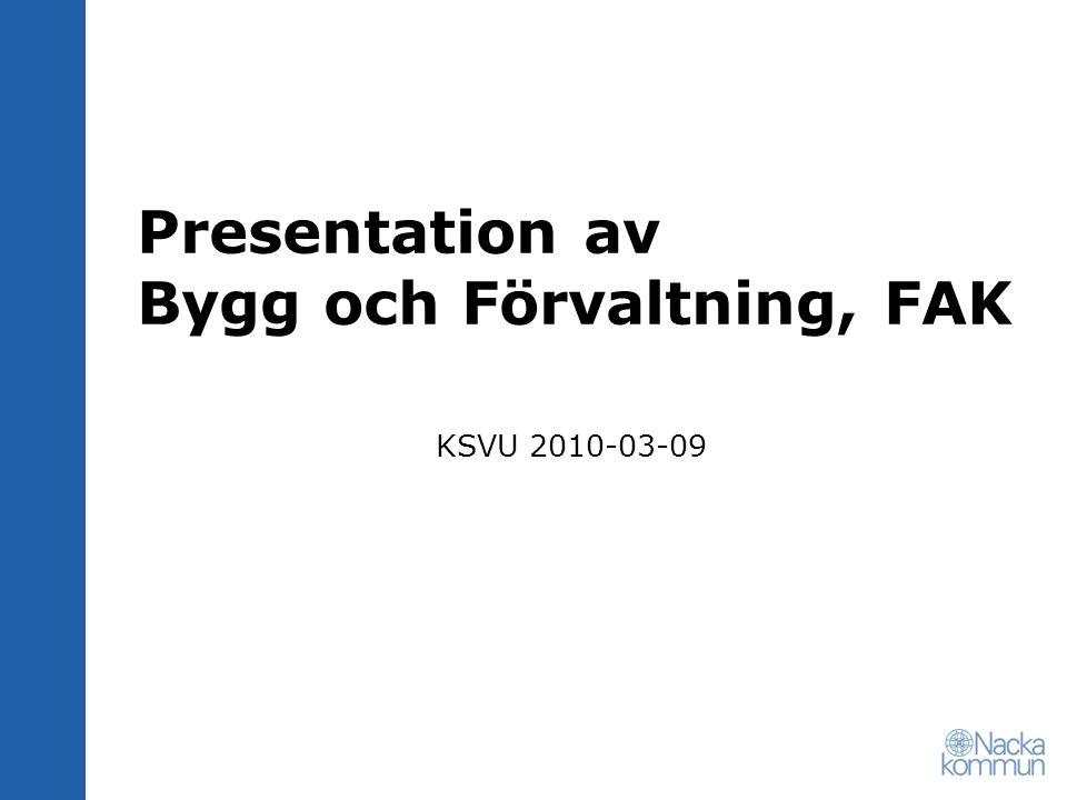 Presentation av Bygg och Förvaltning, FAK KSVU 2010-03-09