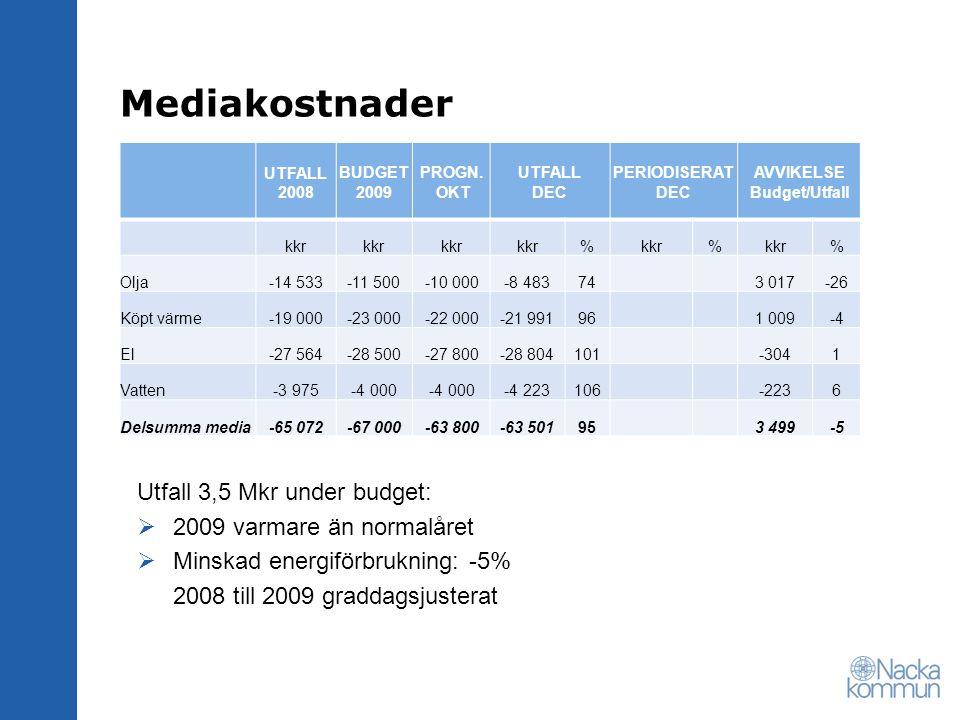 Fastighetsskötsel / Bevakning / Tillsyn / Städning UTFALL 2008 BUDGET 2009 PROGN.