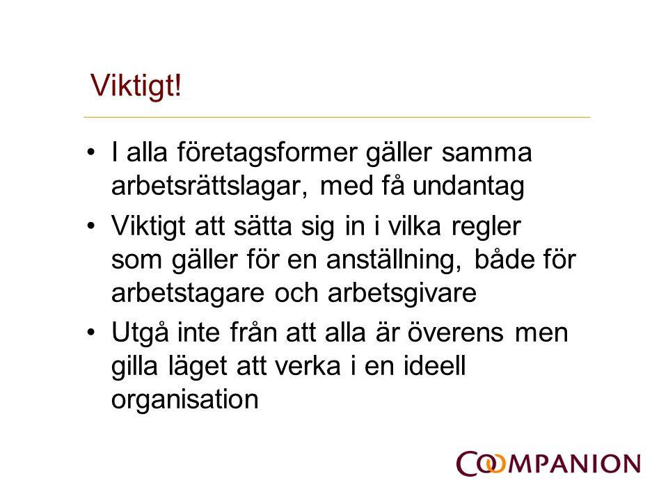 Viktigt! •I alla företagsformer gäller samma arbetsrättslagar, med få undantag •Viktigt att sätta sig in i vilka regler som gäller för en anställning,