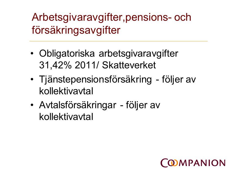 Arbetsgivaravgifter,pensions- och försäkringsavgifter •Obligatoriska arbetsgivaravgifter 31,42% 2011/ Skatteverket •Tjänstepensionsförsäkring - följer