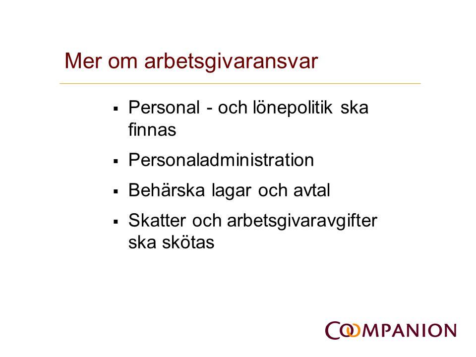 Mer om arbetsgivaransvar  Personal - och lönepolitik ska finnas  Personaladministration  Behärska lagar och avtal  Skatter och arbetsgivaravgifter