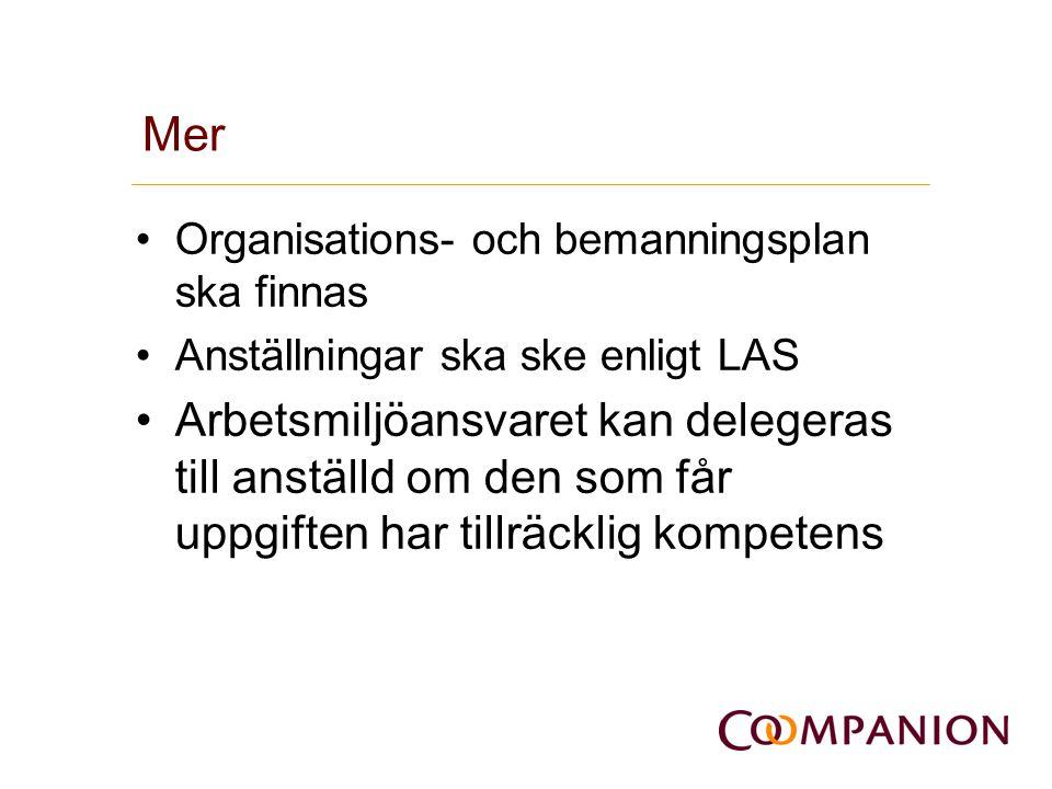 Mer •Organisations- och bemanningsplan ska finnas •Anställningar ska ske enligt LAS •Arbetsmiljöansvaret kan delegeras till anställd om den som får up