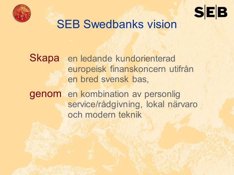 16 SEB Swedbanks vision en ledande kundorienterad europeisk finanskoncern utifrån en bred svensk bas, en kombination av personlig service/rådgivning,