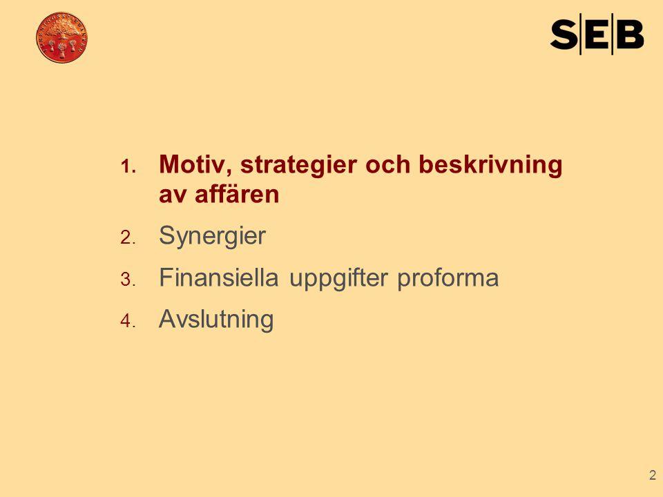 2 1. Motiv, strategier och beskrivning av affären 2. Synergier 3. Finansiella uppgifter proforma 4. Avslutning