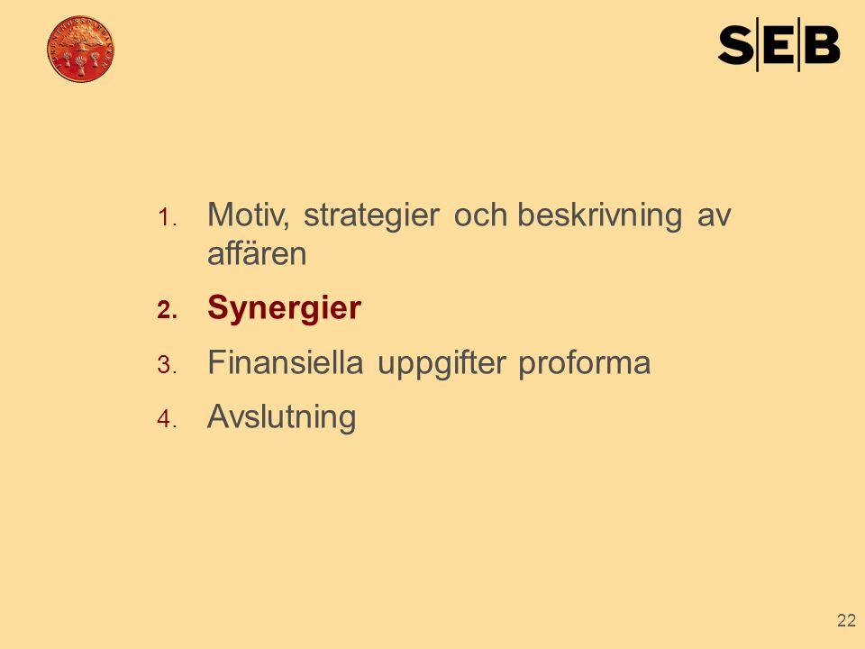 22 1. Motiv, strategier och beskrivning av affären 2. Synergier 3. Finansiella uppgifter proforma 4. Avslutning