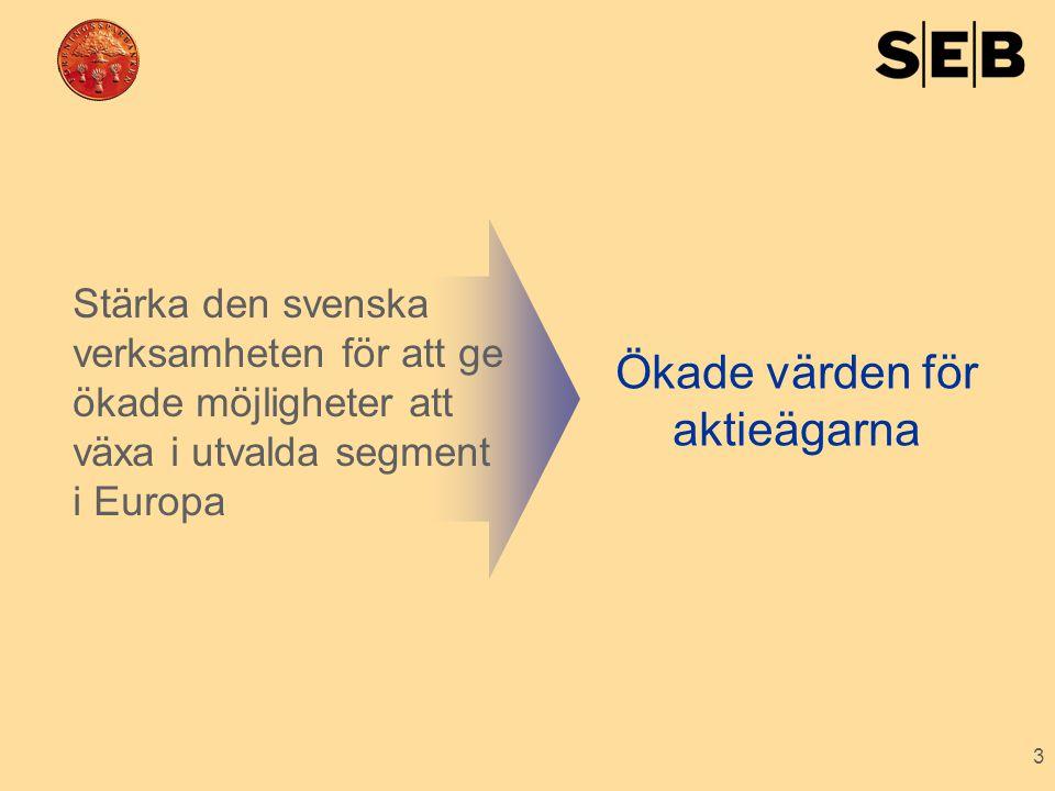 3 Stärka den svenska verksamheten för att ge ökade möjligheter att växa i utvalda segment i Europa Ökade värden för aktieägarna