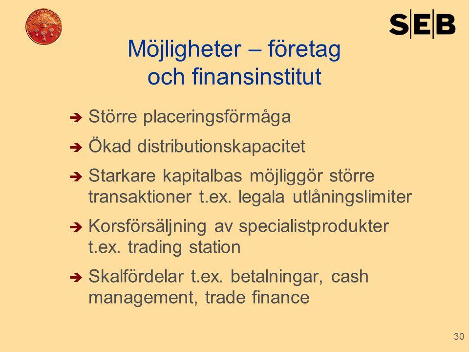 30 Möjligheter – företag och finansinstitut  Större placeringsförmåga  Ökad distributionskapacitet  Starkare kapitalbas möjliggör större transaktio