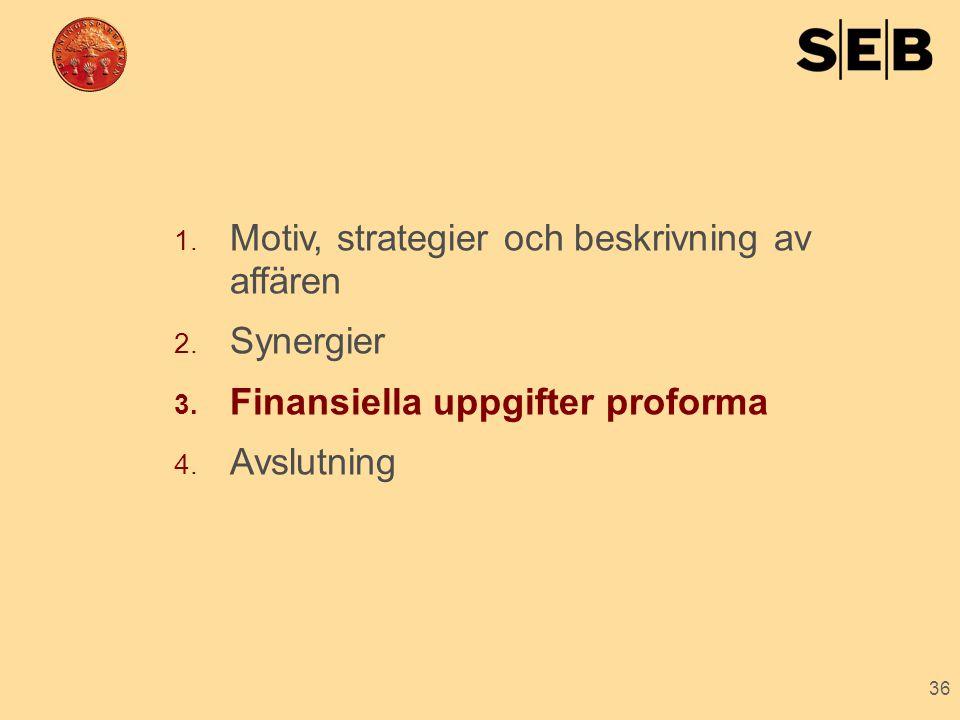 36 1. Motiv, strategier och beskrivning av affären 2. Synergier 3. Finansiella uppgifter proforma 4. Avslutning