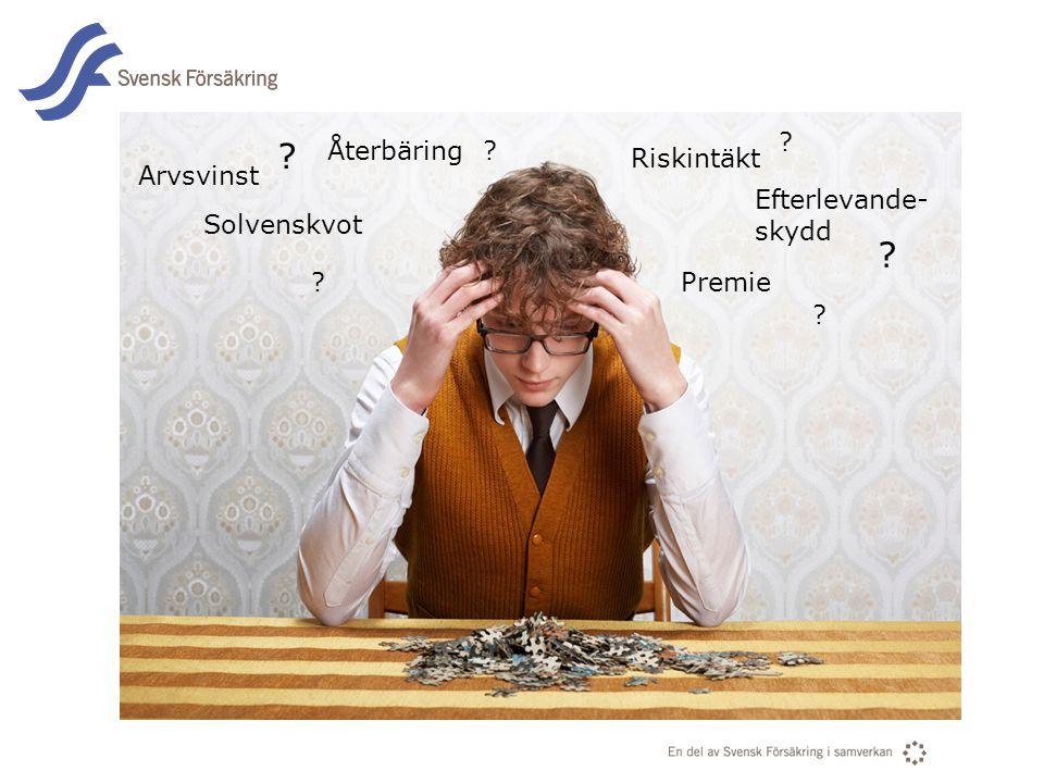 En del av svensk Försäkring i samverkan Arvsvinst Premie Solvenskvot Riskintäkt Återbäring Efterlevande- skydd ? ? ? ? ? ?