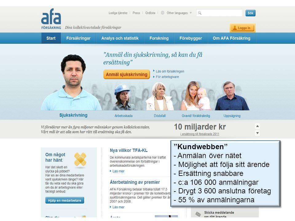 """""""Kundwebben"""" - Anmälan över nätet - Möjlighet att följa sitt ärende - Ersättning snabbare - c:a 106 000 anmälningar - Drygt 3 600 anslutna företag - 5"""