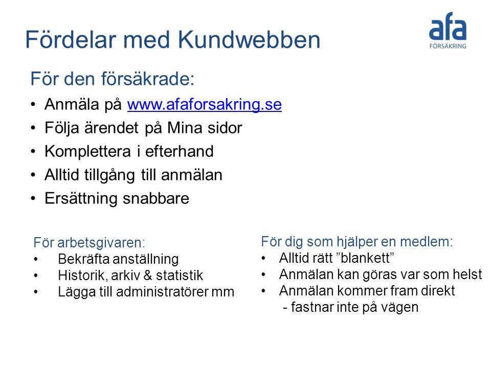 Fördelar med Kundwebben För den försäkrade: •Anmäla på www.afaforsakring.sewww.afaforsakring.se •Följa ärendet på Mina sidor •Komplettera i efterhand