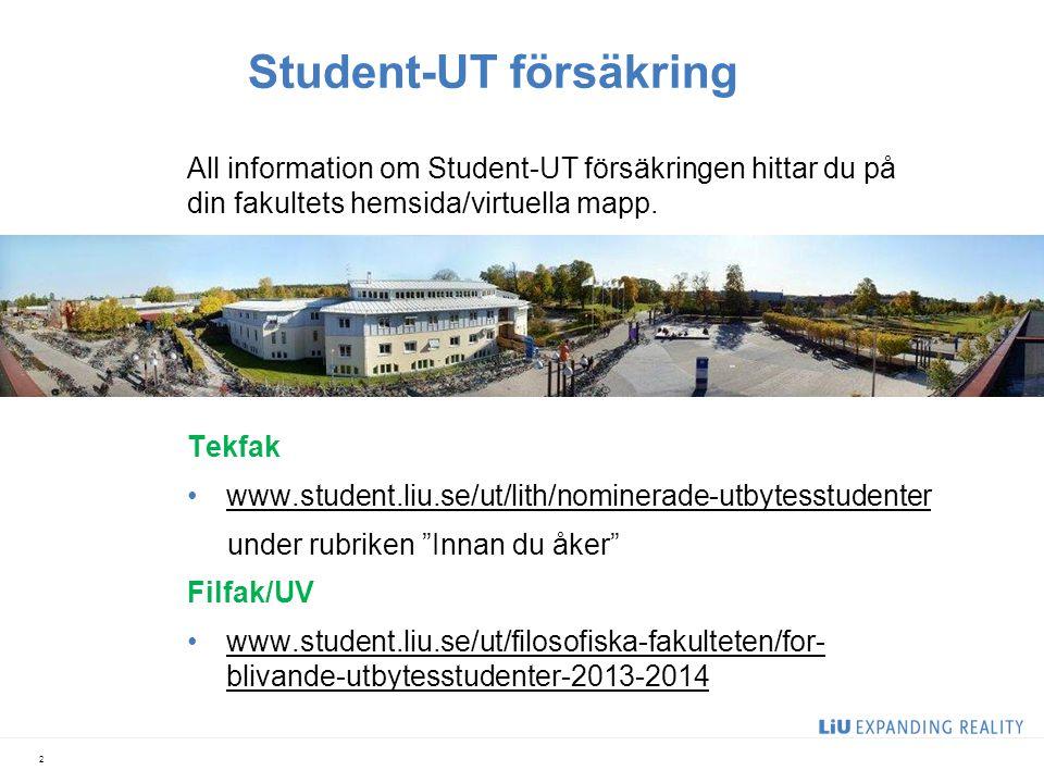 Student-UT försäkring All information om Student-UT försäkringen hittar du på din fakultets hemsida/virtuella mapp. Länkar till hemsidorna: Tekfak •ww