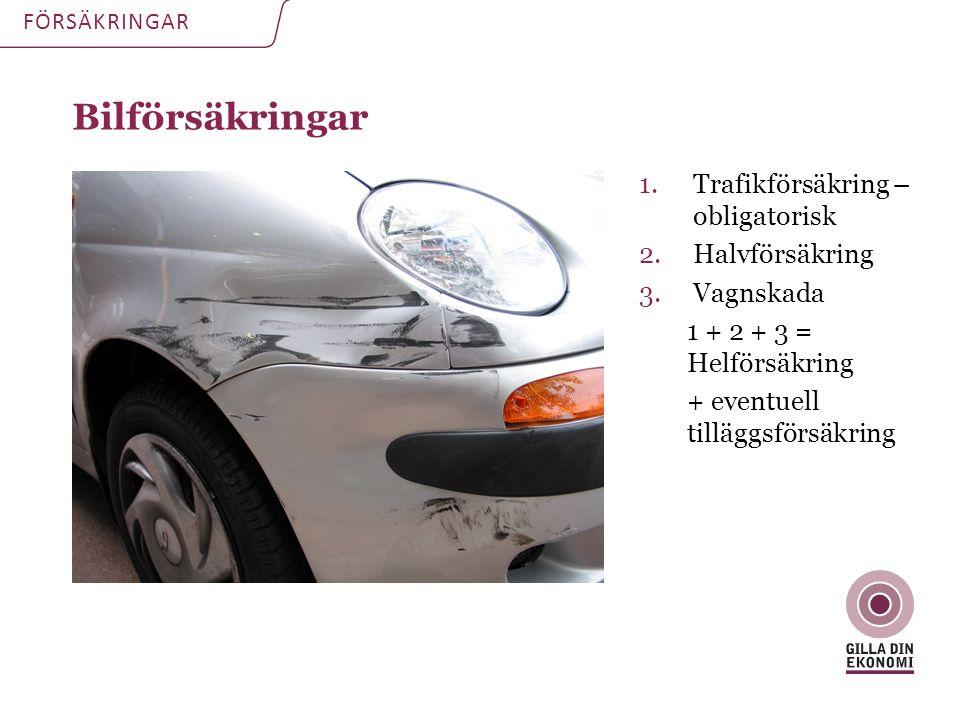 Bilförsäkringar FÖRSÄKRINGAR 1.Trafikförsäkring – obligatorisk 2.Halvförsäkring 3.Vagnskada 1 + 2 + 3 = Helförsäkring + eventuell tilläggsförsäkring
