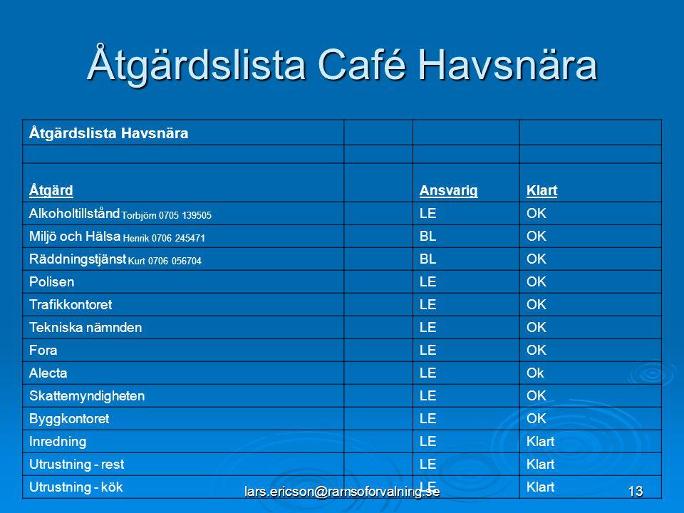 lars.ericson@ramsoforvalning.se13 Åtgärdslista Café Havsnära Åtgärdslista Havsnära ÅtgärdAnsvarigKlart Alkoholtillstånd Torbjörn 0705 139505 LEOK Milj