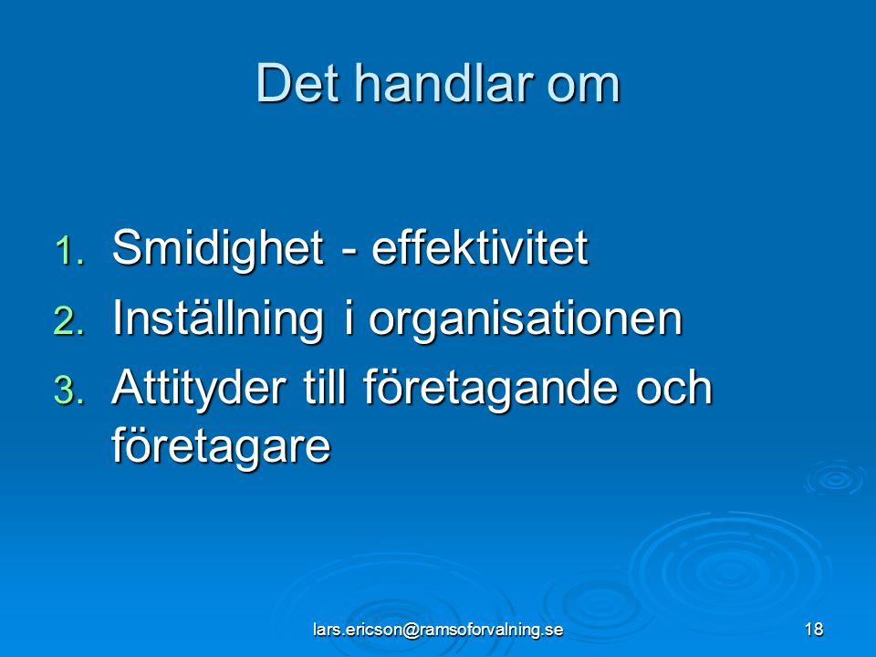 lars.ericson@ramsoforvalning.se18 Det handlar om 1. Smidighet - effektivitet 2. Inställning i organisationen 3. Attityder till företagande och företag