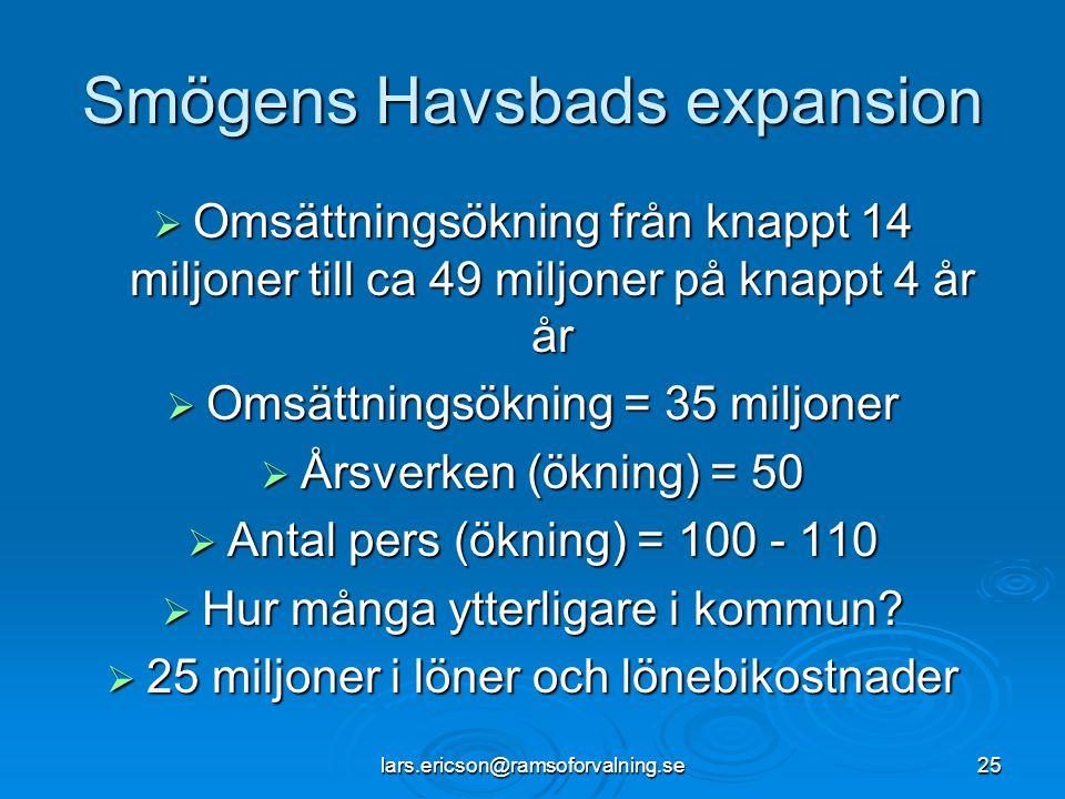 lars.ericson@ramsoforvalning.se25 Smögens Havsbads expansion  Omsättningsökning från knappt 14 miljoner till ca 49 miljoner på knappt 4 år år  Omsät
