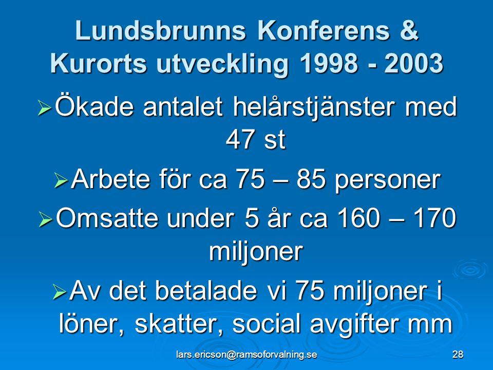 lars.ericson@ramsoforvalning.se28 Lundsbrunns Konferens & Kurorts utveckling 1998 - 2003  Ökade antalet helårstjänster med 47 st  Arbete för ca 75 –