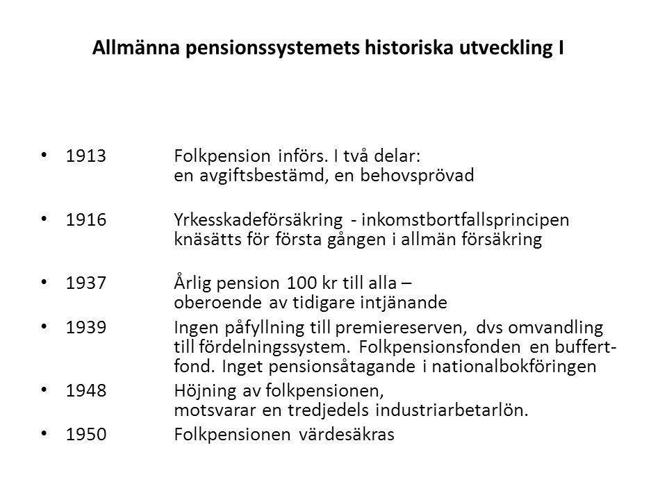 Allmänna pensionssystemets historiska utveckling II • 1960ATP-systemet startar • 1963Första utbetalningarna av ATP.