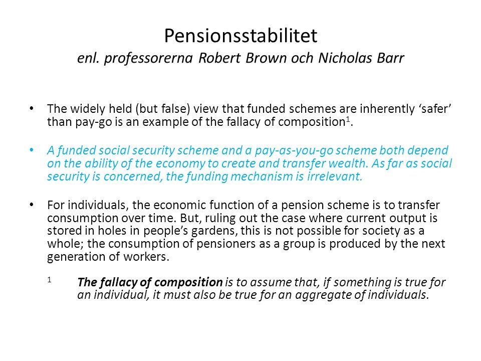Vanföreställning • Det finns en utbredd vanföreställning om att fonderade system i sig skulle vara tryggare än fördelningssystem (dvs.