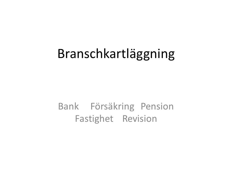 Branschkartläggning Bank Försäkring Pension Fastighet Revision