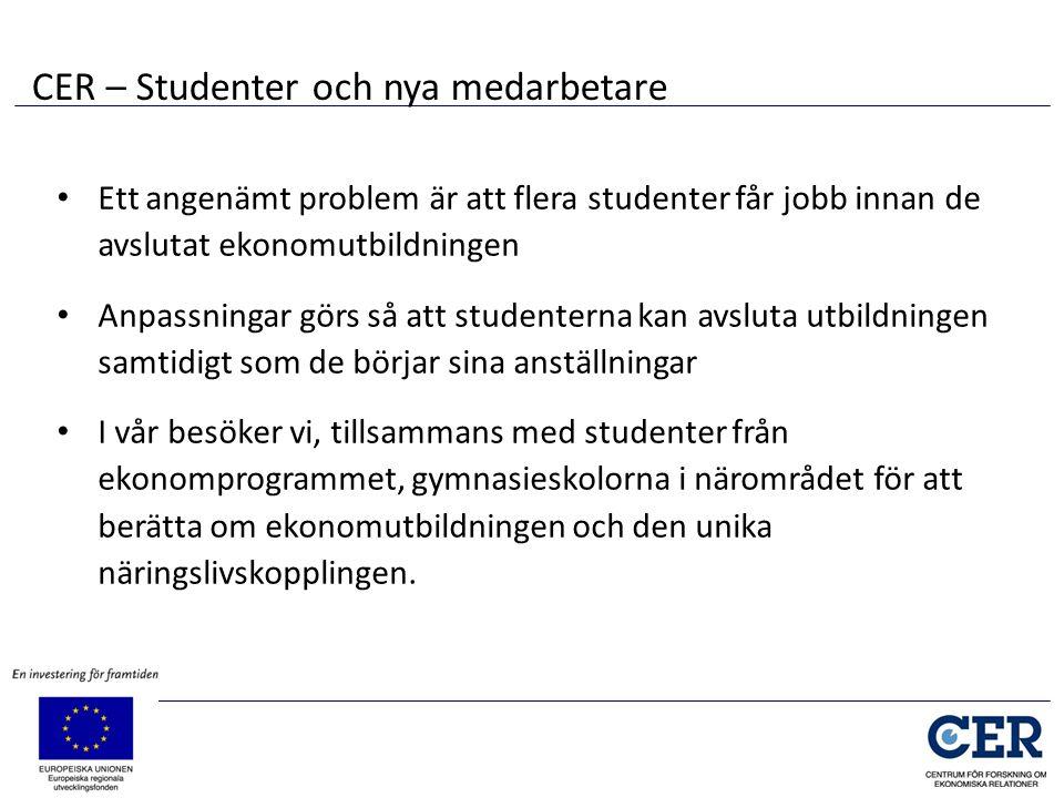 • Ett angenämt problem är att flera studenter får jobb innan de avslutat ekonomutbildningen • Anpassningar görs så att studenterna kan avsluta utbildn