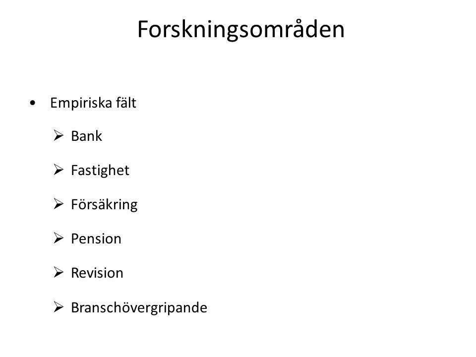 Forskningsområden • Empiriska fält  Bank  Fastighet  Försäkring  Pension  Revision  Branschövergripande