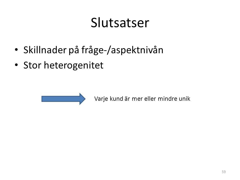 Slutsatser • Skillnader på fråge-/aspektnivån • Stor heterogenitet 59 Varje kund är mer eller mindre unik