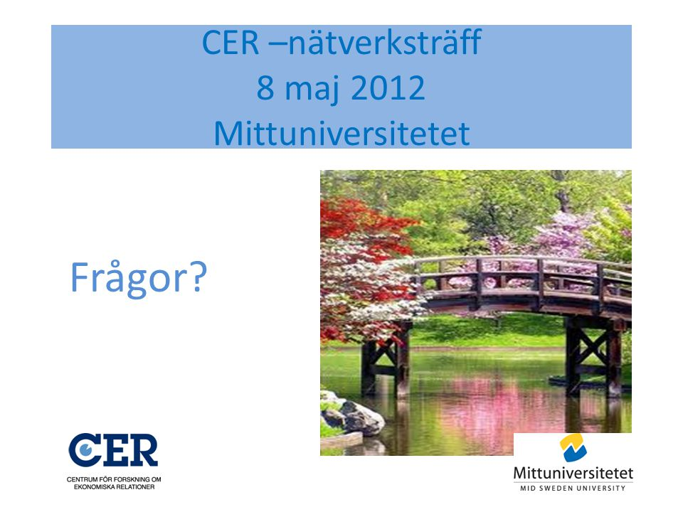 CER –nätverksträff 8 maj 2012 Mittuniversitetet Frågor?