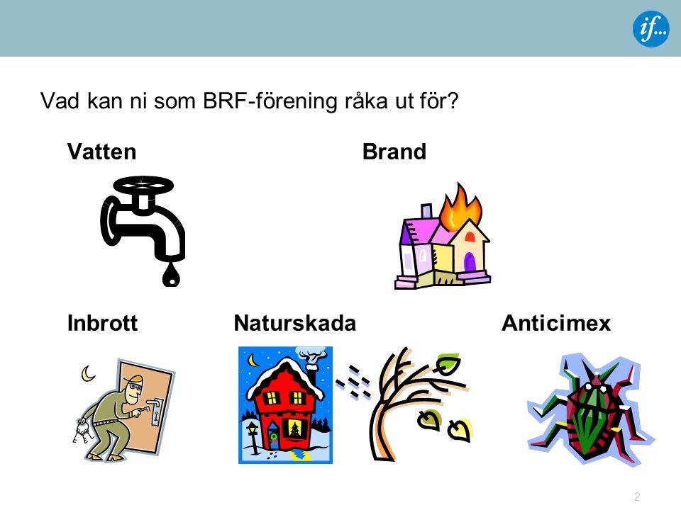 Vad kan ni som BRF-förening råka ut för? 2 VattenBrand InbrottAnticimexNaturskada
