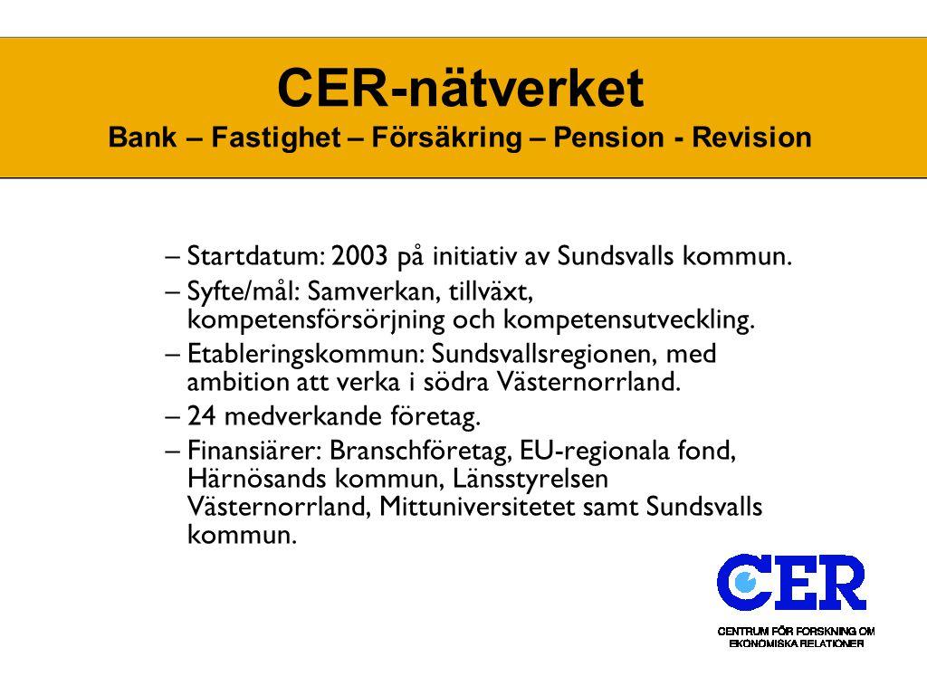1Distributionsstrategin CER-nätverket Bank – Fastighet – Försäkring – Pension - Revision –Startdatum: 2003 på initiativ av Sundsvalls kommun. –Syfte/m