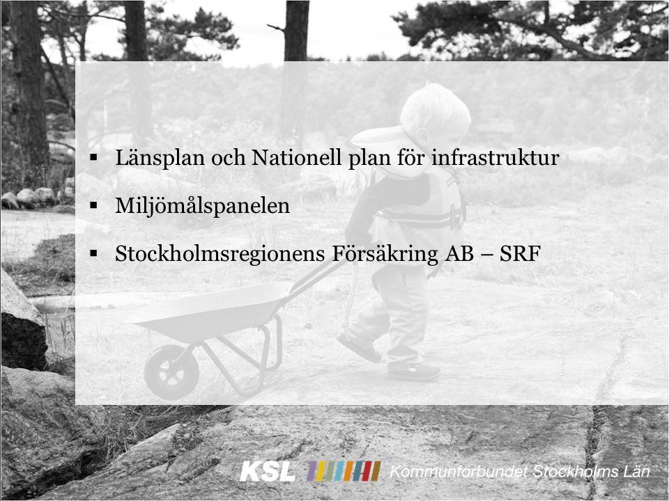  Länsplan och Nationell plan för infrastruktur  Miljömålspanelen  Stockholmsregionens Försäkring AB – SRF