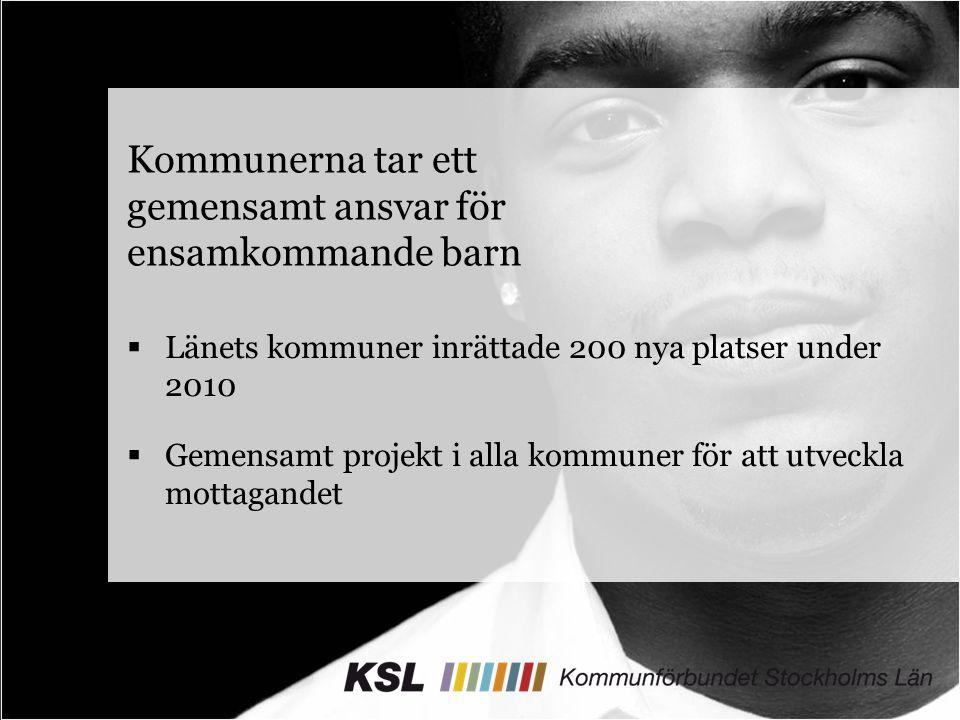 Kommunerna tar ett gemensamt ansvar för ensamkommande barn  Länets kommuner inrättade 200 nya platser under 2010  Gemensamt projekt i alla kommuner för att utveckla mottagandet