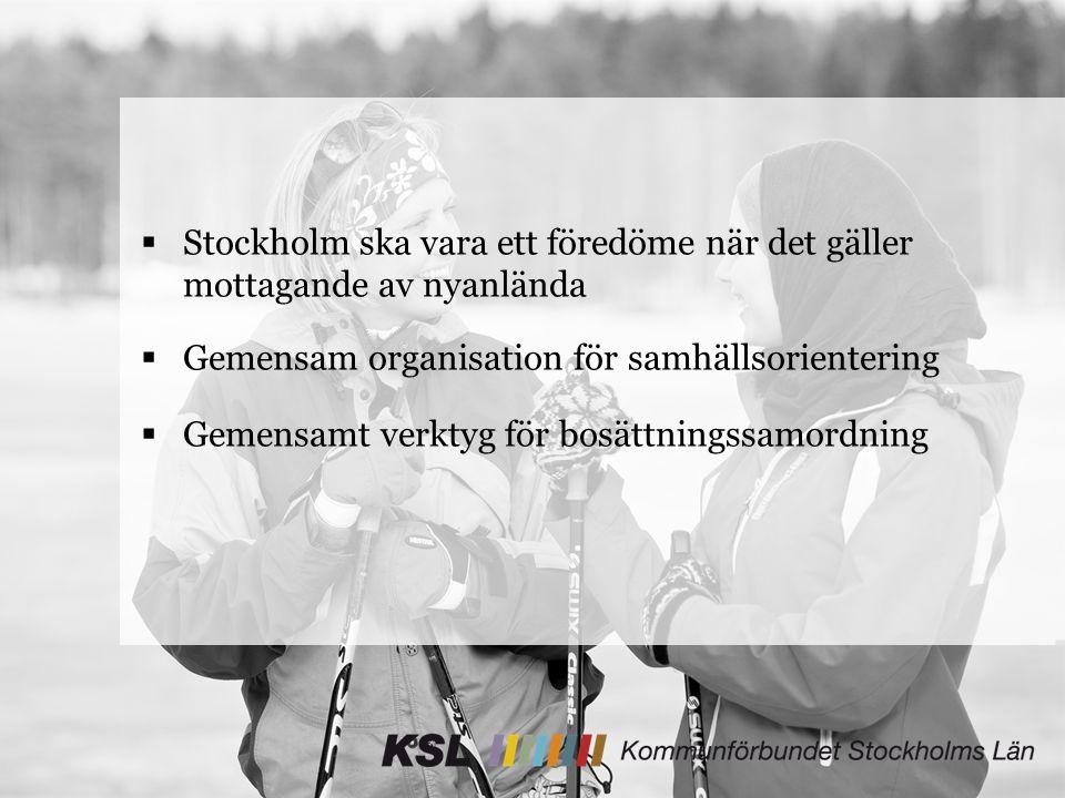  Stockholm ska vara ett föredöme när det gäller mottagande av nyanlända  Gemensam organisation för samhällsorientering  Gemensamt verktyg för bosättningssamordning