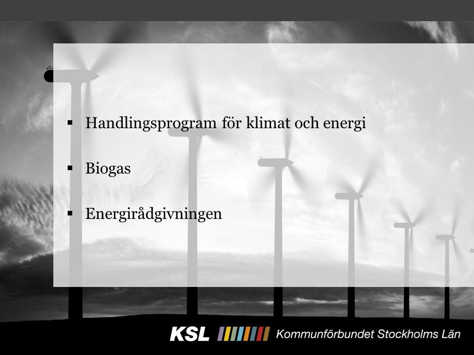  Handlingsprogram för klimat och energi  Biogas  Energirådgivningen