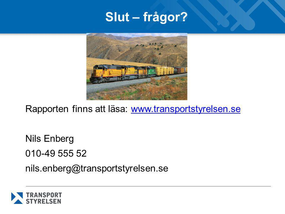 Slut – frågor? Rapporten finns att läsa: www.transportstyrelsen.sewww.transportstyrelsen.se Nils Enberg 010-49 555 52 nils.enberg@transportstyrelsen.s