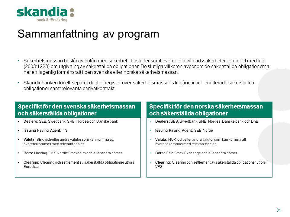 •Dealers: SEB, Swedbank, SHB, Nordea och Danske bank •Issuing Paying Agent: n/a •Valuta: SEK och/eller andra valutor som kan komma att överenskommas m