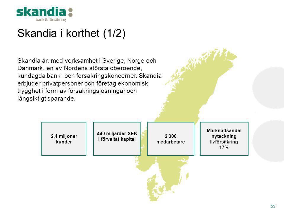 Skandia är, med verksamhet i Sverige, Norge och Danmark, en av Nordens största oberoende, kundägda bank- och försäkringskoncerner. Skandia erbjuder pr