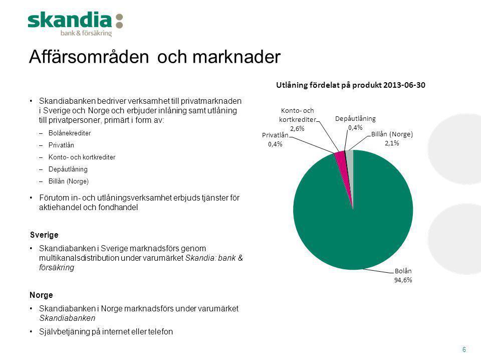 •Skandiabanken bedriver verksamhet till privatmarknaden i Sverige och Norge och erbjuder inlåning samt utlåning till privatpersoner, primärt i form av
