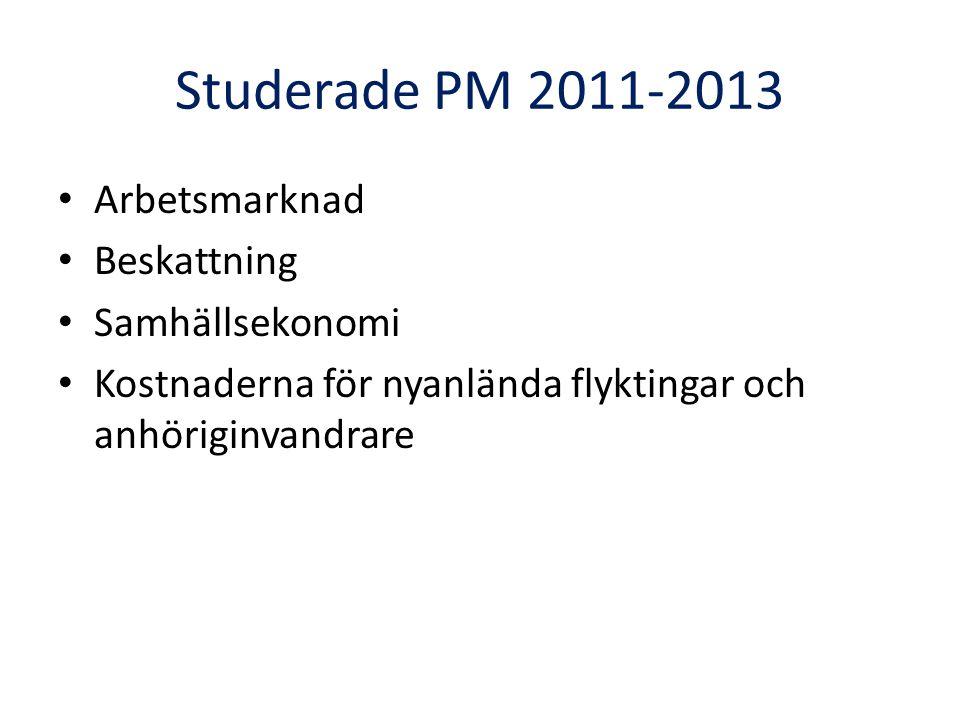 Studerade PM 2011-2013 • Arbetsmarknad • Beskattning • Samhällsekonomi • Kostnaderna för nyanlända flyktingar och anhöriginvandrare