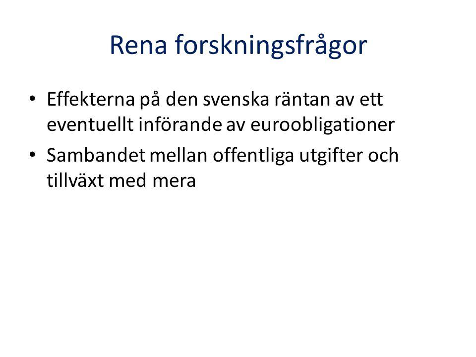 Rena forskningsfrågor • Effekterna på den svenska räntan av ett eventuellt införande av euroobligationer • Sambandet mellan offentliga utgifter och ti