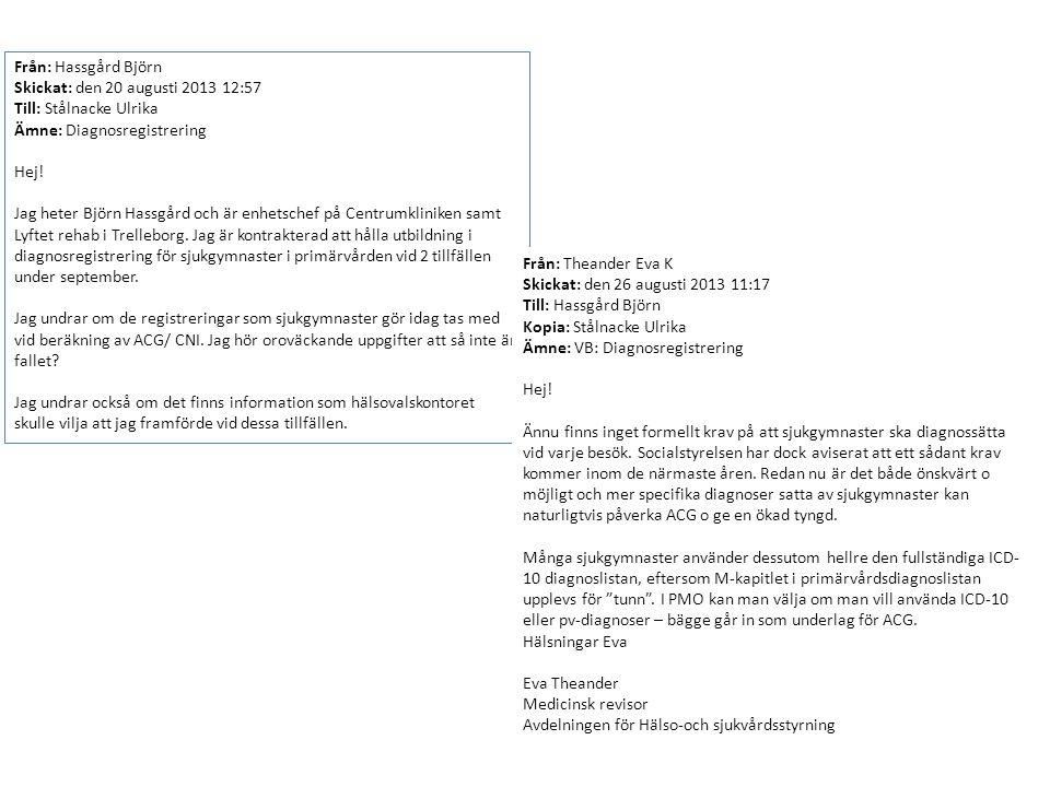 Från: Hassgård Björn Skickat: den 20 augusti 2013 12:57 Till: Stålnacke Ulrika Ämne: Diagnosregistrering Hej! Jag heter Björn Hassgård och är enhetsch